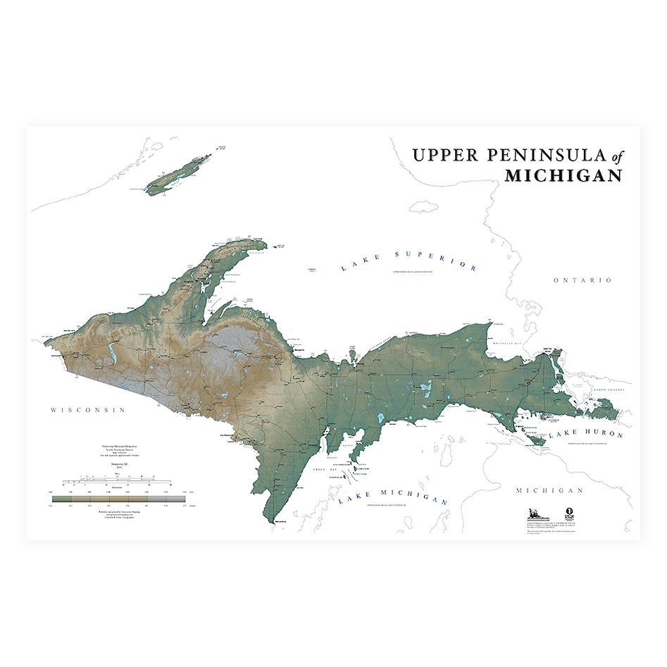 Upper Peninsula Wall Map